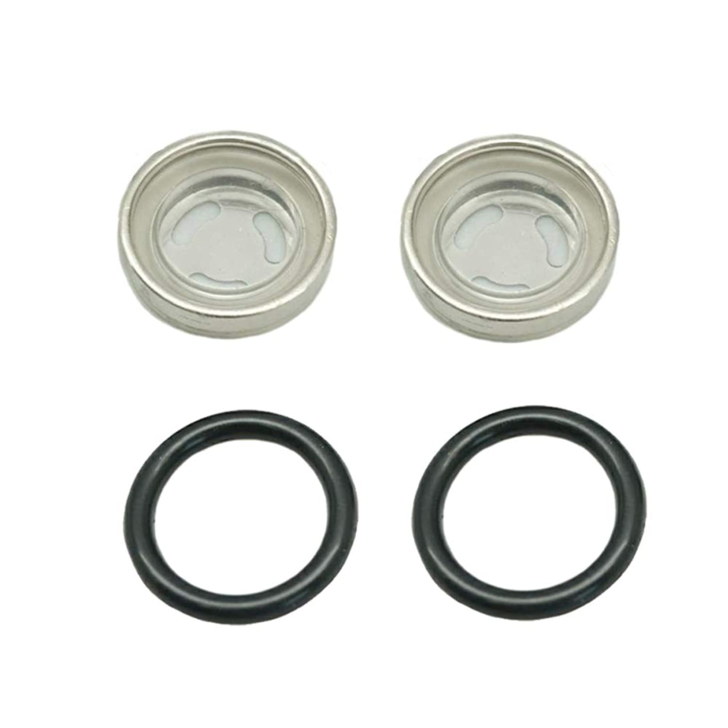 Lefossi 2 Sets Front Rear Brake Clutch Master Cylinder 18mm Sight Glass Lens with O Ring Replacement For 125cc 150cc 250cc 300cc 350cc 400cc 450cc Scooter Dirt Bike ATV