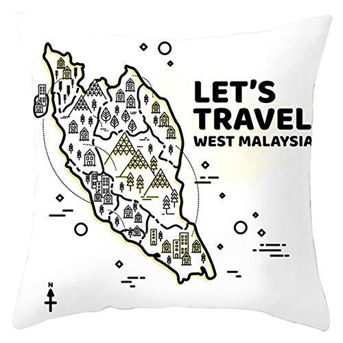 Amody Fundas para Cojines de Sofa, Funda de Cojines 45x45cm Let's Travel West Malaysia Casa Funda de Almohada para Sofá Cama Hogar Coche,Interior, Exterior Style 8