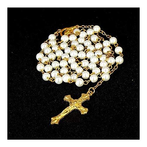 FKJSP 6 mm Cadena de Oro Blanco Perla Católica Preferencia Collar del Rosario de la comunión Bautismo Religiosa Cruzada del Oro Virgen María Collar (Metal Color : X021)