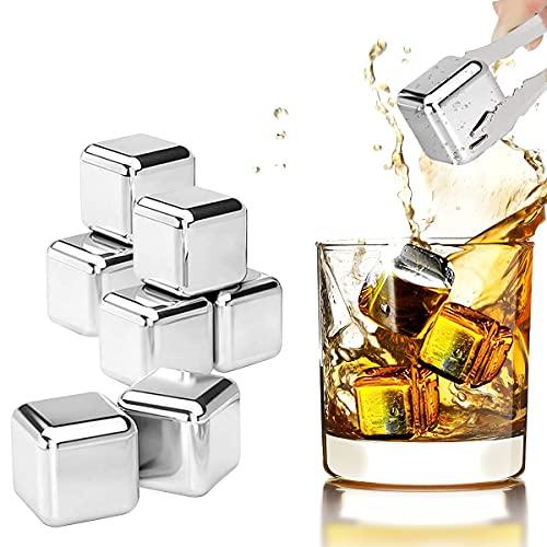 Cubetti di Ghiaccio in Acciaio Inossidabile 8Pcs Cubetti Ghiaccio Riutilizzabili con Punta in Pinze Whisky Stones Set per Vino per Whisky Vodka Wine Beer e Tutte le Succhi e Bevande