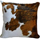 """eCowhides Cowhide Pillow Case, 15"""" x 15"""" Tricolor Genuine Leather Cowskin Throw Pillow Cover, Brown Black & White (One Sided, Case Only)"""