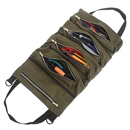 Lâ Vestmon Roll-Werkzeugtasche, Hochleistungs-Werkzeugtasche aus Segeltuch mit 5 Reißverschlusstaschen zum Aufrollen für Off-Road-Campingausrüstung