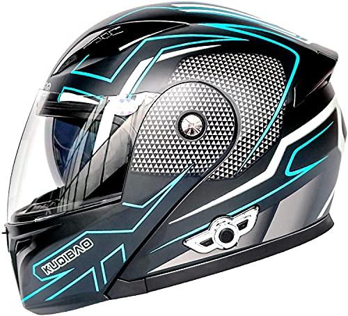 Motorbike Helmet Cascos abiertos Cascos de moto con Bluetooth Cascos modulares Cascos integrales Cascos abatibles con visera ECE de doble visera para mujeres Hombres Adultos iEvery0810(Color:C,Size:Me