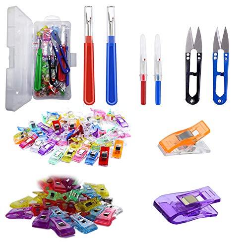 FaroDor 50 piezas de clips de tela para coser + 4 piezas de herramientas de eliminación de costura con 2 pinzas de tijera