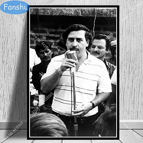 xinyouzhihi Plakat Pablo Escobar Charakter Legende Retro Wandkunst Leinwand Malerei Plakate und Drucke für Raum dekorative Wohnkultur 60x75cm Kein Rahmen