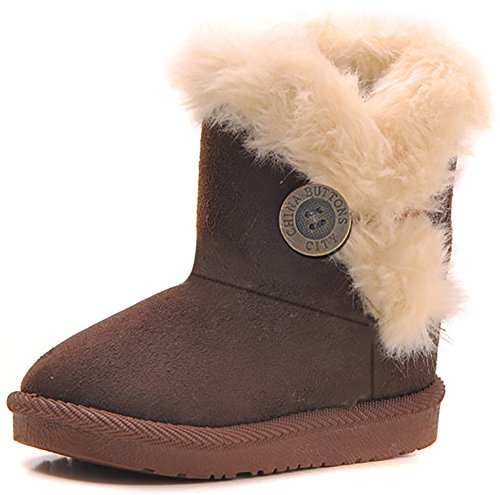 Poppin Kicks Girls Bailey Button Snow Boots Kids Winter Faux Fur Flat Shoes Brown 8 M US Toddler