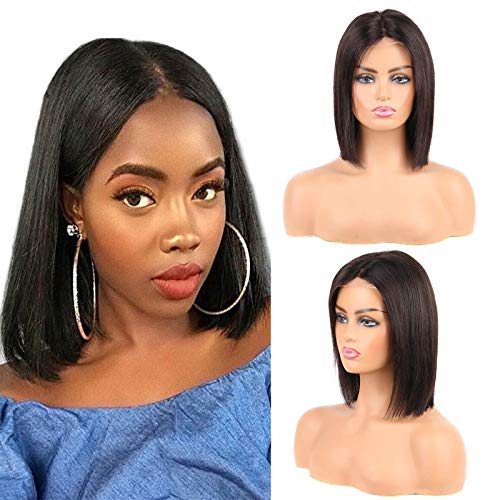 Huarisi 10 Inch Bob Straight Closure Wig Middle Part 4x4 Lace Front Wig Human Hair Short Hair Wigs for Black Women 8a Unprocessed Brazilian Virgin Hair Wig without Fringe Natural Colour