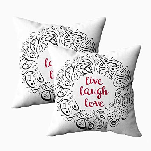 Funda de almohada, 2 paquetes de fundas de almohada, cojín Douecilsh, sofá suave para el hogar, decorativo, conceptual, abstracto, con letras, frase en vivo, risa, amor, póster, camiseta con doble imp