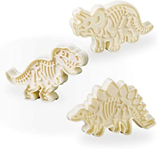 Jurassic Dinosaur Cookie Cutters and Skeleton Stampers T-Rex Stegosaurus Triceratops Fossil Cookie Cutters Set (Pack of 6)