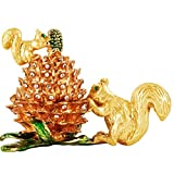 Jewelry Trinket Boxes Hinged - Golden Squirrel Pinecone, Crystal Jeweled Animal Figurines Jewelry Display Ring Holder Box Collectible