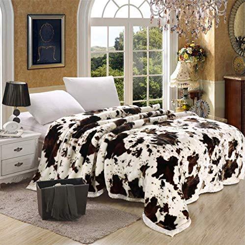 RKZM Manta súper Suave Piel de Vaca Animal Estampado de Flores Doble Capa Queen King Size Cama Doble Gruesas Mantas cálidas de Invierno 150 * 200Cm