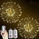 Lichterkette Feuerwerk, 2 x 120 LED Lichterketten Warmweiß Batteriebetrieben Fernbedienung DIY Feuerwerk Licht Kupferdraht Wasserdicht 8 Modi Beleuchtungs für Innen Außen Deko Weihnachten Hochzeit
