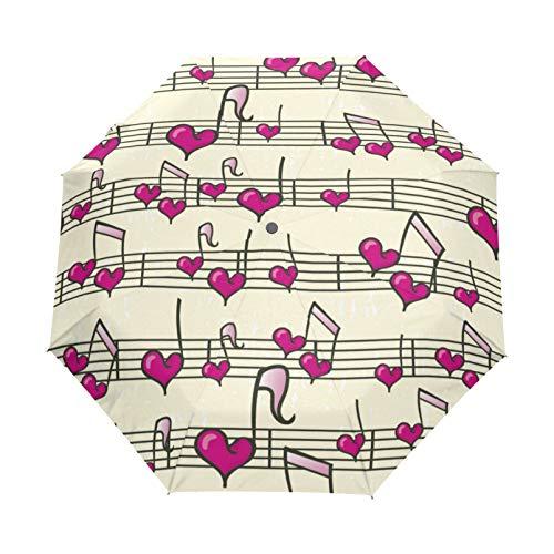 RELEESSS - Ombrello pieghevole da viaggio, con note a cuore, compatto, antivento, portatile, per donne e uomini, unisex