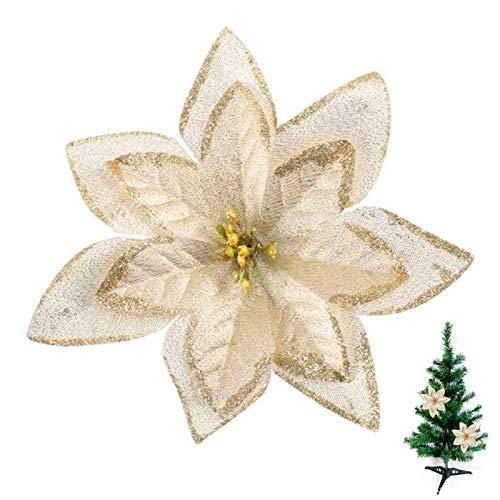 NAHUAA 24pcs Flores de Navidad de Oro Claro Poinsettia Flores Artificiales Adornos de Árbol de Navidad Flores de Seda Decoraciones Navideñas Flores para Guirnalda de Navidad
