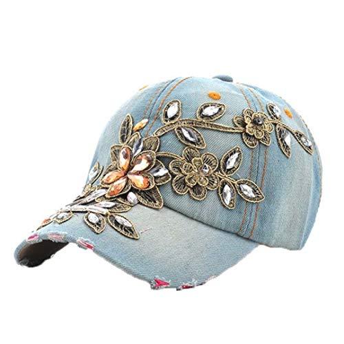 Gorras de béisbol clásicas de Vaquero para Mujer Sombreros de Mezclilla Bordados con Pintura de Diamante de...