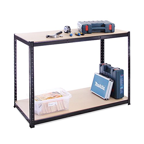 Garage Workbench & Shelving: 90cm high x 120cm wide x 60cm deep | Heavy Duty Racking Shelves for Storage, Black 2 Tier (300KG Per Shelf), 600KG Capacity | For Workshop, Shed, Office | 5 Year Warranty