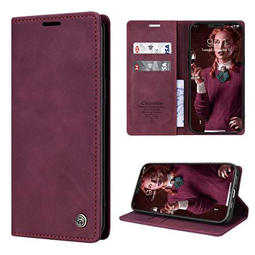 RuiPower Handyhülle für iPhone 12 Pro Max Hülle Premium Leder Flip Case Magnetisch Klapphülle Wallet Lederhülle mit Kartenfach Silikon Bumper Schutzhülle für iPhone 12 Pro Max (6.7'') - Wein Rot