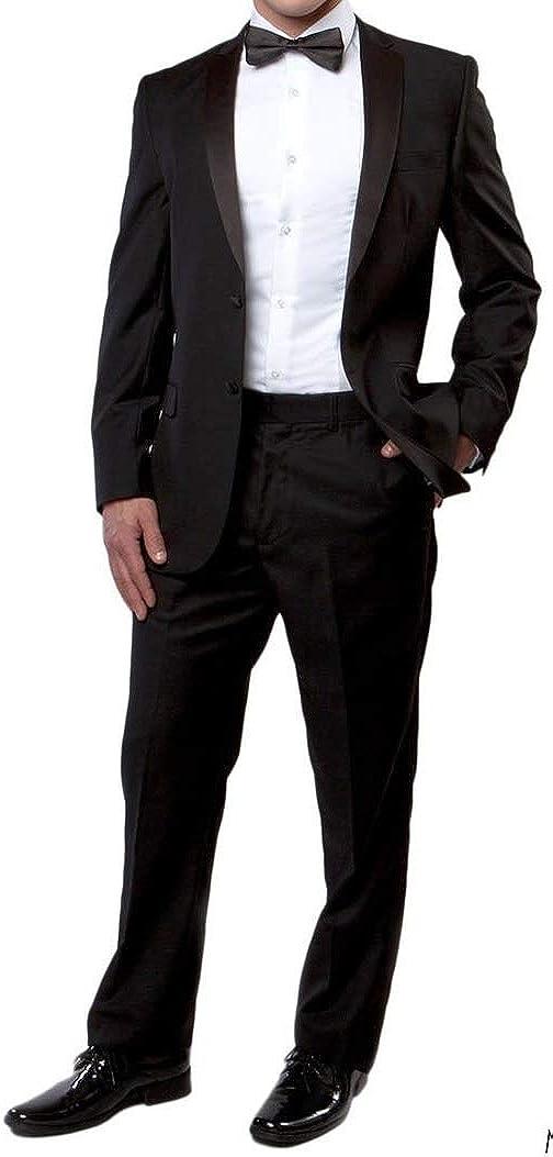 New Mens 5 Pc Complete Black Tuxedo Suit Jacket Pants Shirt Cummerbund Bow Tie