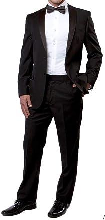 6ca0a5ae4442 New Mens 5 Pc Complete Black Tuxedo Suit Jacket Pants Shirt Cummerbund Bow  Tie