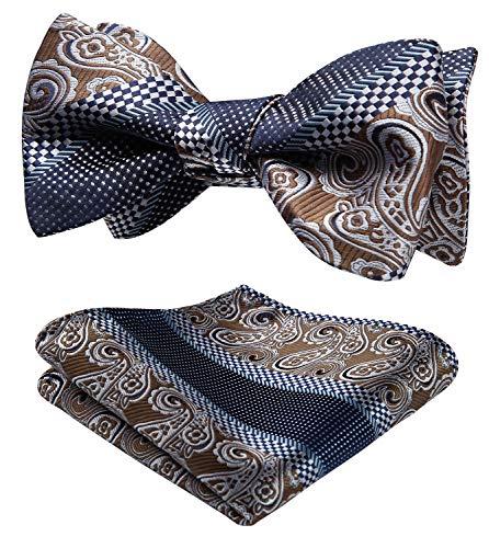 HISDERN Men's Paisley Jacquard Wedding Party Self Bow Tie Pocket Square Set Brown/Blue