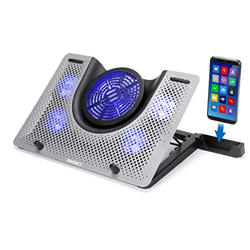 ENHANCE Cryogen 3 Gaming Laptop Cooling Pad - USB Powered 5 LED Fans, Metal Cooler Surface fits 17.3 inch Laptops, Smartphone Device Holder, 5 Adjustable Stand Settings, Portable for PC Gamer