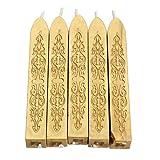 UIXIYIMG 5 unids/Set Retro Vintage Sealing Sticks de Cera para DIY Carta Invitaciones de Boda 16 Colores Iglesia Velas dedicadas Stamp Seal Wax, Dorado
