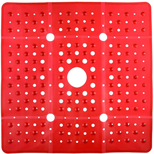 SlipX Solutions Extra Large Square Shower Mat, 27 x 27 Inches, Provides More Coverage & Non-Slip Traction (100 Suction Cups, Great Drainage, Red)