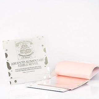 Giusto Manetti Battiloro - Feuille d' argent pour emploi alimentaire - Carnet à 5 feuilles – 86 x 86 mm - Argent pur