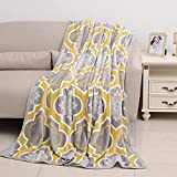 Shop LC Gray and Yellow Pattern Flannel Throw Blanket with Knitted Border 100% Microfiber