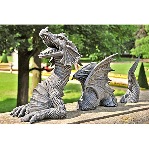 Wanshop Dragon Garden Decor Garden Decor Statue Dragon Statues Ornaments Large Dragon Gothic Garden Decor Statue Resin Ornament for Outdoor Decoration. (B)