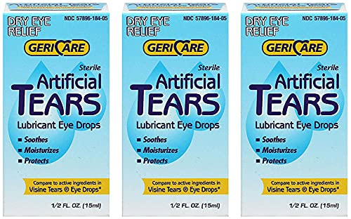 GeriCare Artificial lubricating Tears Dry Eye relief 0.5 oz (Pack of...