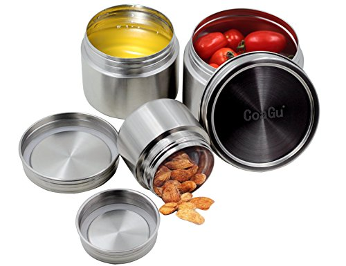 Airtight Canister Sets for Kitchen Counter Stainless Steel Food Storage Containers 3pcs (8oz,16oz,24oz) with Lids