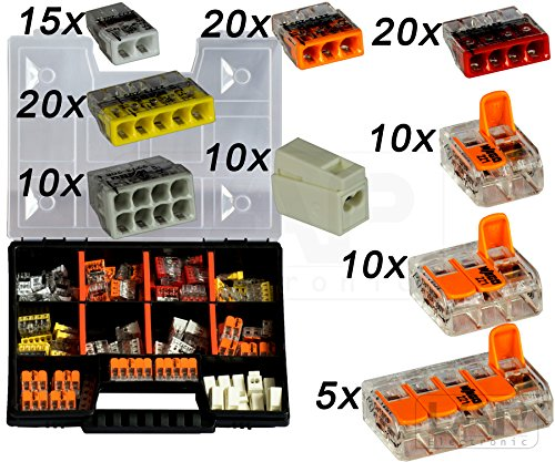 WAGO Sortiment Set NR 2 Variobox Wagoklemmen Box Hebelklemmen 2273-202 -208 | 224-112 | 221-412 | 221-413 |221-415 | 120 Stück incl. Sortimentbox