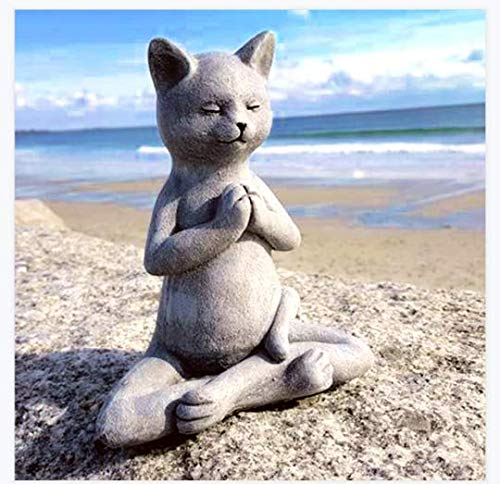 Cat Buddha, Meditating Cat Statue - Yoga Cat Garden Decor, Spring Decorations for The Home, Table Centerpiece, Cat Buddha Statue for Zen Vibe, Flower Bed, Yoga Space, Outdoors