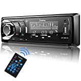 SjoyBring Car CD Player with Bluetooth, Car Stereo with Hands Free Calling, HD Large Screen Display, Detachable Panel, CD/MP3/FLAC/USB/SD/AUX/FM Truck Radio with Subwoofer Interface
