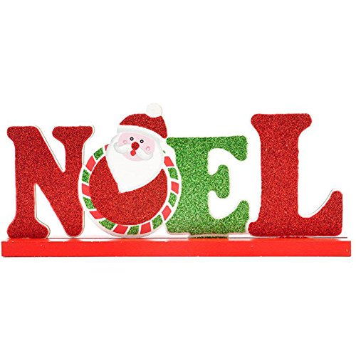 Chytaii Décoration Lettres Ornement Dessiné de Table Décoration de Noël avec Support en Bois