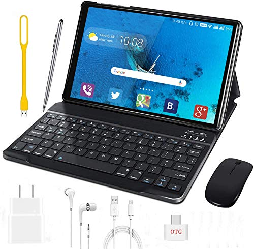 Tablet 10 Inch, Android 9.0 Pie Tablets with Wireless Keyboard Case and Mouse, 3GB RAM 32GB ROM, Quad Core, Google GMS Certified, IPS HD Display, 8MP Dual Camera, Dual SIM, 8000mAh, WiFi (Black)