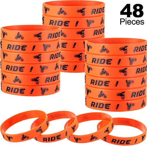 48 Pieces Dirt Bike Rubber Bracelets Motocross Silicone Wristbands for Motocross Themed Kids Birthday Party Accessories
