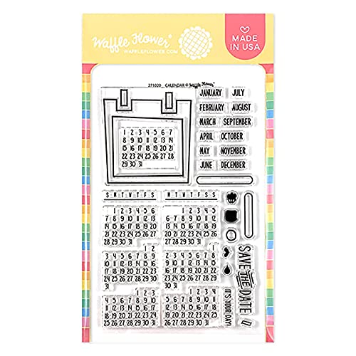 Waffle Flower Calendar Stamp Set - This is a 4' x 6' Set of 32 Stamps. Approximate Stamp Size: -Calendar Frame: 2-1/4' x 2-3/8' -Monthly Calendar Dates: 1-3/8' x 1' -'June': 3/8' x 1/4'