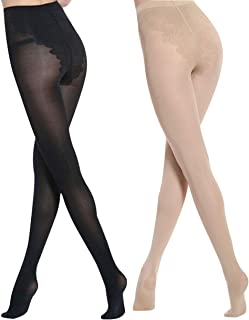 womens 2 pairs pantyhose Reinforced 180 Denier butterfly crotch Opaque tights footed Stockings nude socks