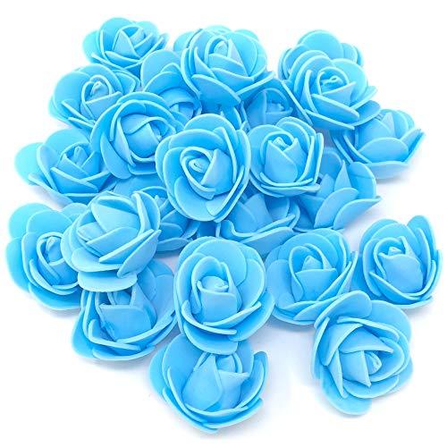Roses décoratives en mousse, 3 cm environ, bleu 30mm bleu