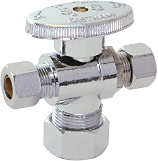 Eastman 48652LF 1/4-Turn Dual-Outlet Compression Inlet 3-Way Stop Valve, 5/8-Inch OD (1/2-Inch Nom.) Inlet x 3/8-OD Compression Outlet x 3/8-Inch OD Compression Outlet, Chrome Plated
