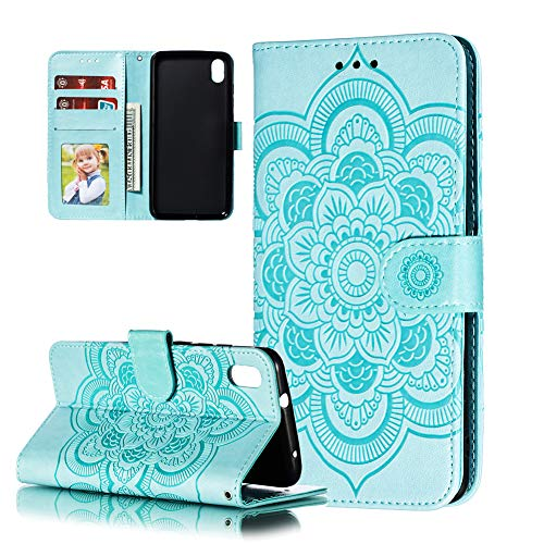 COTDINFOR Etui für Xiaomi Redmi 7A Hülle PU Leder Cover Schutzhülle Magnet Tasche Flip Handytasche Stand Kartenfächer Lederhülle für Xiaomi Redmi 7A Green Mandala LD.