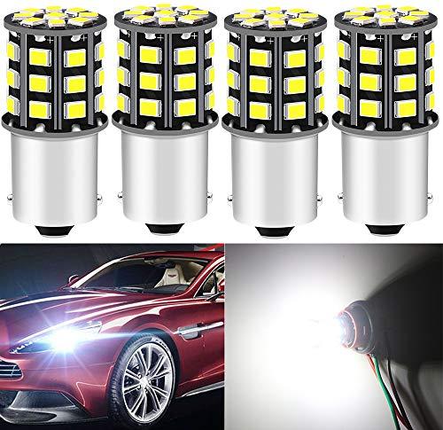 DEFVNSY - Paquete de 4-1156 BA15S 1141 1003 7506 Super Bright White 12-24V DC 2835 33SMD Bombillas LED para Luces de Marcha atrás, Luces traseras de Freno, Luces de circulación Diurna