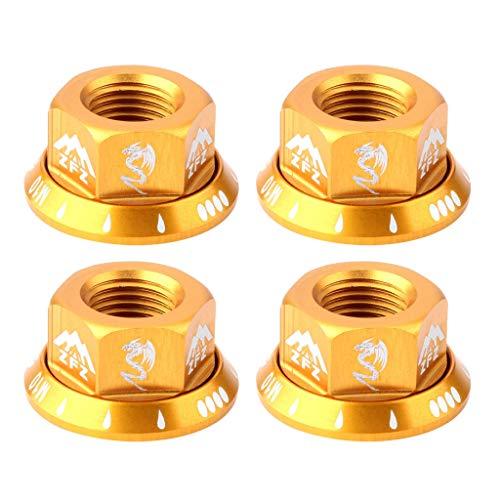 Jili Online 4Pcs Hub Nut M10 Flange Screws for - Gold