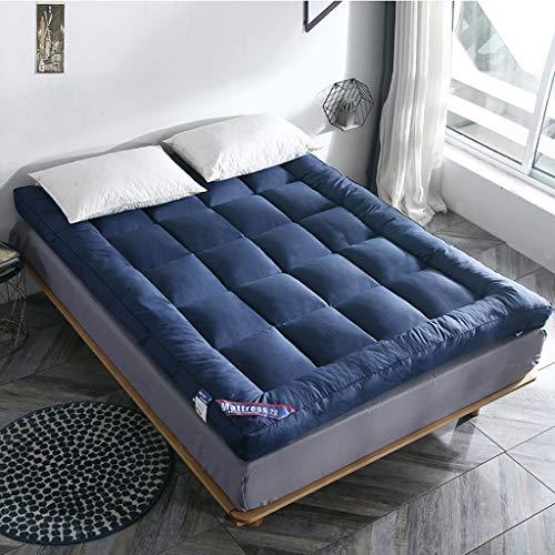 QVIVI Futon Mattress, Foldable Roll Up Futon Floor Mattress Soft Warm Thicken Tatami Guest Mattress For Living Room Bedroom Blue 0.9 * 2M