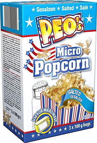 Peo's Micro Popcorn, Gesalzenes Mikrowellenpopcorn im 12er Vorteilspack, 12 Schachteln mit 3 x 100 g Inhalt, Popcorn Mais salzig für die Mikrowelle, Filmsnack, Kinoabend