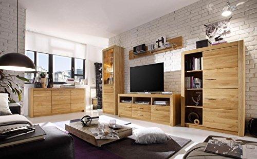 lifestyle4living Wohnzimmerschrank, Wohnwand, Schrankwand, Anbauwand, Fernsehwand, Wohnzimmerschrankwand, Wohnschrank, Asteiche massiv, teilmassiv, geölt