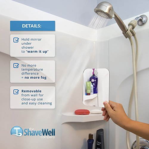 51rgzcW1OsL - The Shave Well Company Deluxe Anti-Fog Shower Mirror | Fogless Bathroom Shaving Mirror | 33% Larger Than Original | Long-Lasting Removable Adhesive Hook