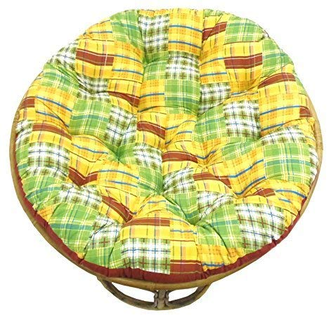COTTON CRAFT Papasan Madras Plaid Yellow Multi - Overstuffed Chair Cushion, Sink into Our Thick...